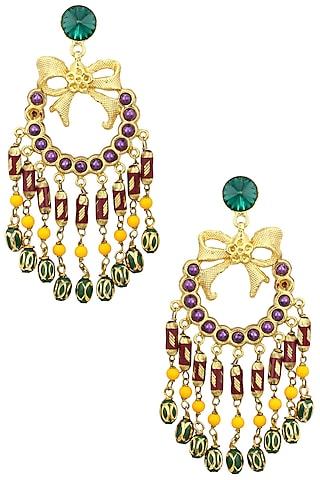 Gold Plated Multi Stone Bow Earrings by Valliyan by Nitya Arora