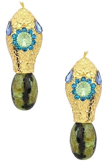Gold Plated Watermelon Snake Earrings by Valliyan by Nitya Arora