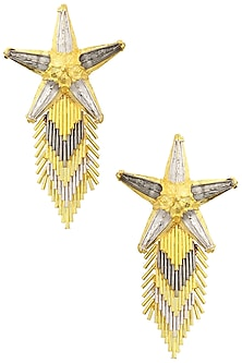 Gold and Silver Star Spray Earrings by Valliyan by Nitya Arora