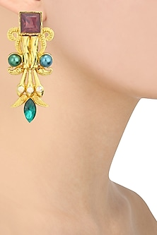 Gold Plated Rococo Pillar Earrings by Valliyan by Nitya Arora