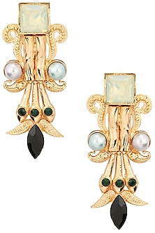 Gold Plated Iridescent Mint Pillar Earrings by Valliyan by Nitya Arora
