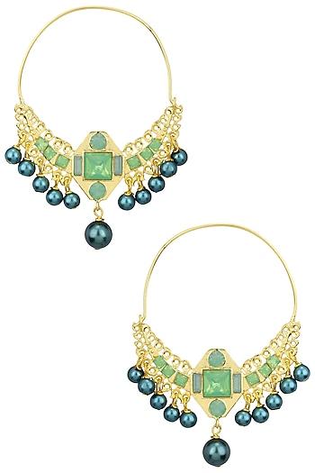 Gold Plated Dangler Hoop Earrings by Valliyan by Nitya Arora