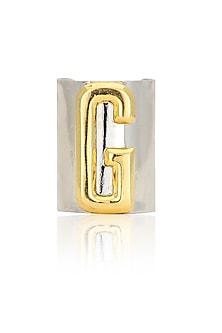 Gunmetal finish letter 'G' embossed adjustable ring by Valliyan by Nitya Arora