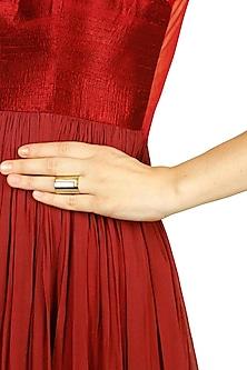 Gunmetal finish letter 'L' embossed adjustable ring by Valliyan by Nitya Arora