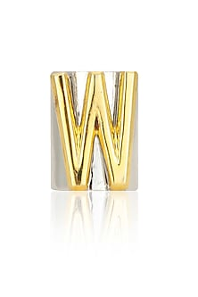 Gunmetal finish letter 'W' embossed adjustable ring by Valliyan by Nitya Arora
