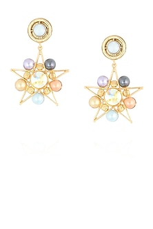 Gold finish multi color pearl star shape earrings by Valliyan By Nitya Arora