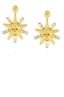 Gold finish semi precious stone skull star shape earrings by Valliyan By Nitya Arora