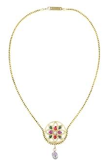 Gold finish semi precious stone round pendant necklace by Valliyan By Nitya Arora