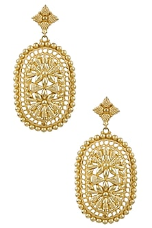Gold Plated Textured Shenai Earrings by Valliyan by Nitya Arora