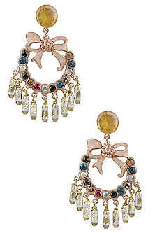 Gold Plated Semi Precious Stones Bow Dangler Earrings by Valliyan by Nitya Arora