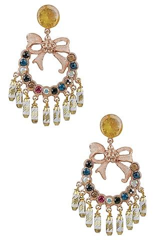 Gold Plated Semi Precious Stones Bow Dangler Earrings by Valliyan by Nitya Arora