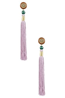 Gold Plated Lilac Silk Long Tassel Earrings by Valliyan by Nitya Arora