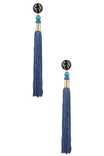 Gold Plated Blue Silk Long Tassel Earrings by Valliyan by Nitya Arora
