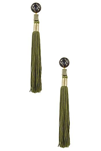 Gold Plated Olive Silk Long Tassel Earrings by Valliyan by Nitya Arora