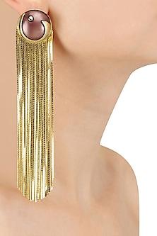 Gold Plated Maroon Stone Metal Long Tassel Earrings by Valliyan by Nitya Arora