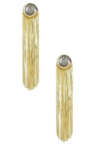 Gold Plated Grey Stone Metal Long Tassel Earrings by Valliyan by Nitya Arora