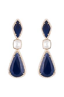 Gold Finish Faux Diamonds, Kundan & Blue Stone Longs Earrings by VASTRAA Jewellery