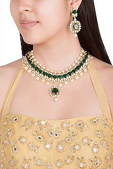 Gold Finish Faux Pearls, Kundan & Green Stone Necklace Set by VASTRAA Jewellery