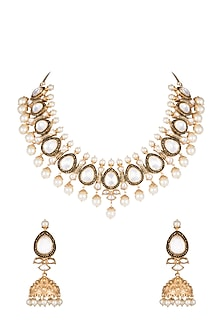 Gold Finish Faux Pearls & Hand Engraved Kundan Necklace Set by VASTRAA Jewellery