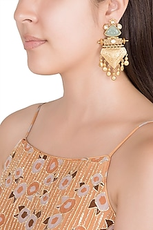 Gold Finish Faux Pearls & Turquoise Blue Stone Earrings by VASTRAA Jewellery