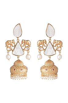Gold Finish Faux Pearls & White Stone Earrings by VASTRAA Jewellery