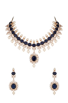 Gold Finish Faux Pearls & Blue Stones Necklace Set by VASTRAA Jewellery-Shop By Style
