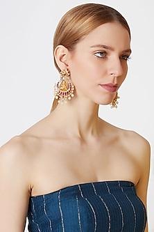 Gold Finish Red Kundan Temple Earrings by VASTRAA Jewellery