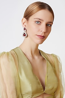 Gold Finish Red Stone Earrings by VASTRAA Jewellery