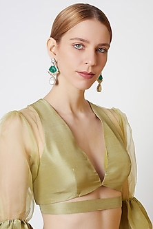 Gold Finish Diamond & Green Stone Earrings by VASTRAA Jewellery