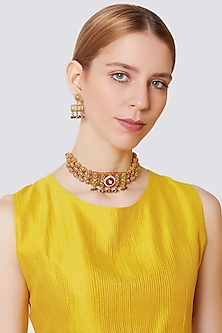 Gold Finish Antique Choker Necklace Set by VASTRAA Jewellery-POPULAR PRODUCTS AT STORE
