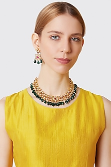 Gold Finish Green Beaded Necklace Set by VASTRAA Jewellery