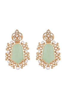 Gold Finish Faux Kundan, Pearl & Grey Stone Earrings by VASTRAA Jewellery