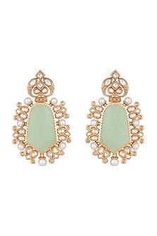 Gold Finish Faux Kundan, Pearl & Grey Stone Earrings by VASTRAA Jewellery
