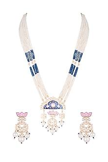 Gold Finish Kundan & Faux Pearl Enameled Mala Necklace Set by VASTRAA Jewellery