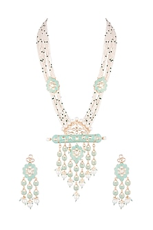 Gold Finish Kundan & Faux Pearl Enameled Long Necklace Set by VASTRAA Jewellery