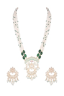 Gold Finish Blue & Pink Enamelled Necklace Set by VASTRAA Jewellery
