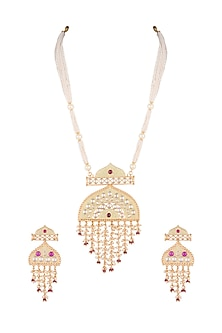Gold Finish Faux Kundan & Red Stones Long Necklace Set by VASTRAA Jewellery