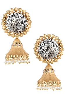 Dull gold and silver plated pearl earrings by VASTRAA Jewellery