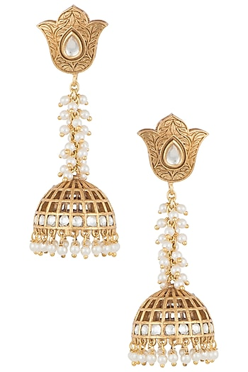 Dull gold plated kundan long earrings by VASTRAA Jewellery