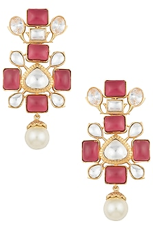 Dull gold plated kundan and ruby earrings by VASTRAA Jewellery