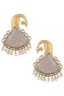 Dull gold plated blue stone peacock earrings by VASTRAA Jewellery
