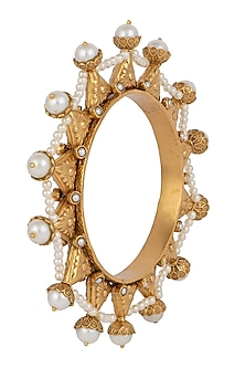 Dull gold plated pearl bangle by VASTRAA Jewellery