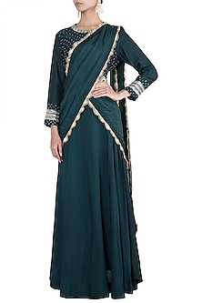 Bottle green embroidered lehenga set by VASTRAA