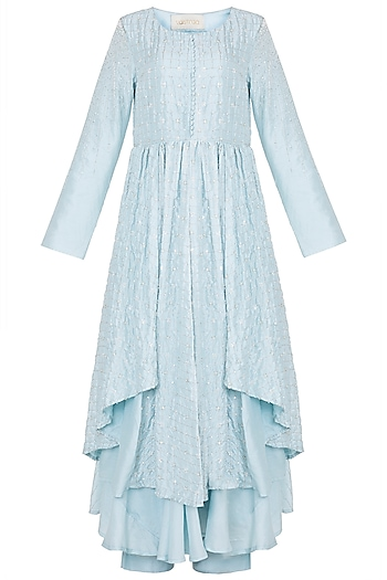 Sky blue embroidered pleated kurta set by VASTRAA