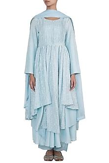 Sky blue embroidered pleated kurta set by VASTRAA