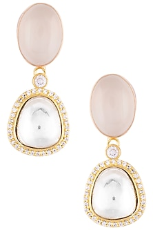 Gold plated polki and stone earrings by VASTRAA Jewellery
