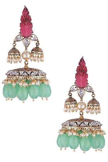Gold plated stone jhumki earrings by VASTRAA Jewellery