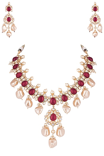 Gold Plated Ruby Kundan And Pearl Necklace Set Design By Vastraa