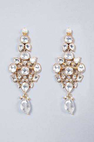 Gold Finish Kundan Polki Necklace Set by VASTRAA Jewellery