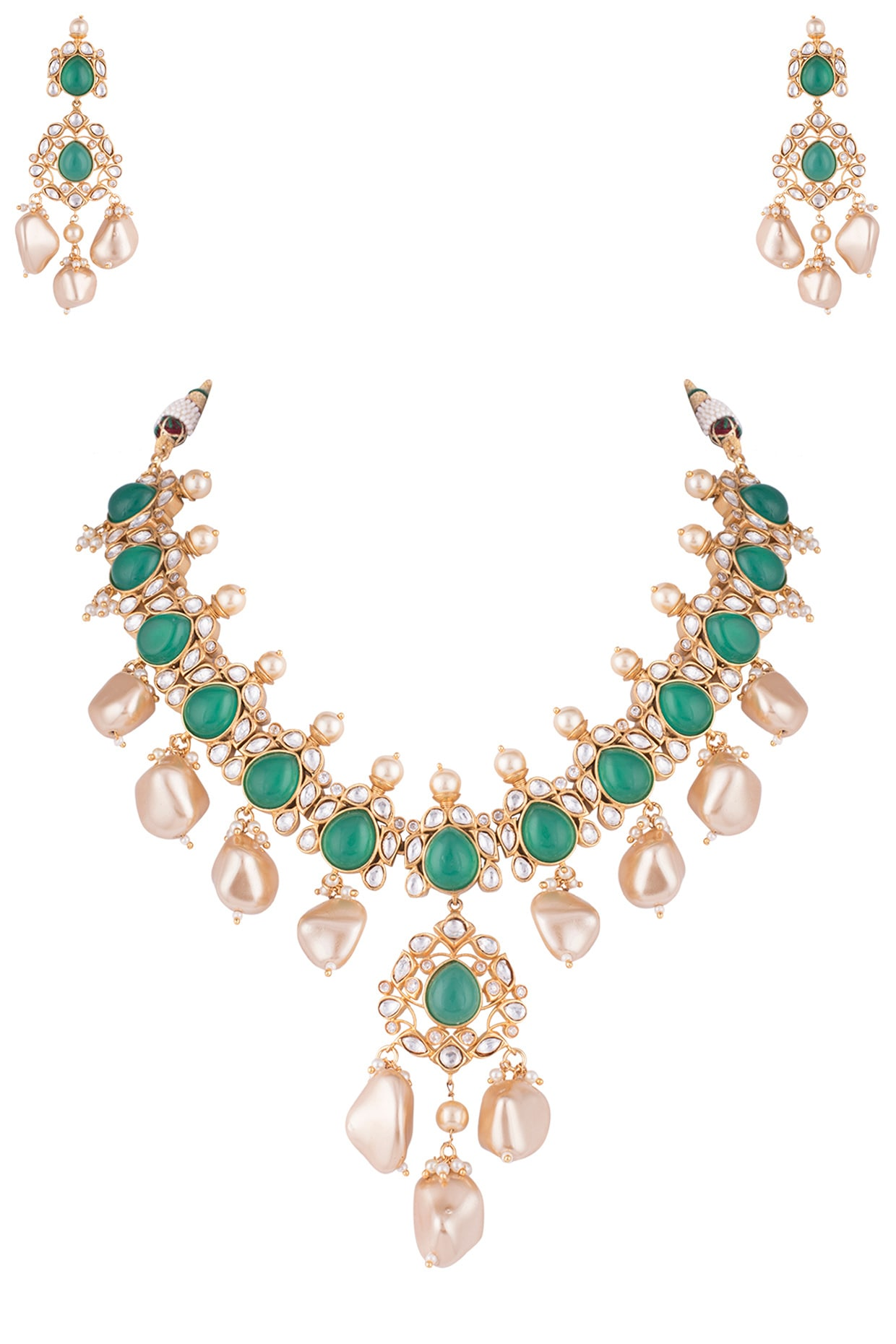 Gold Plated Emerald Kundan And Pearl Necklace Set Design By